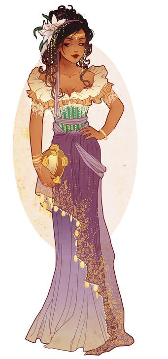 I included this image into my board as I really liked the animated costume design, I enjoy the colours and the elements of embellishment throughout the outfit.  I want to create a costume design that incorporates Esmeralda's style to represent freedom and adventure.
