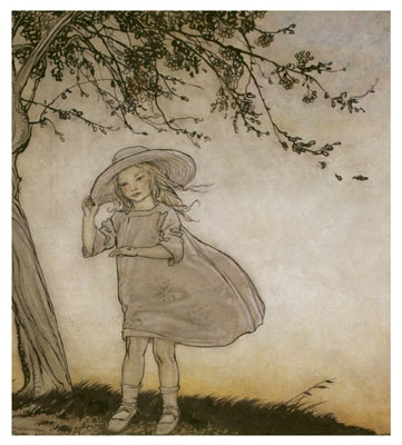 """Ladybird, Ladybird Fly Away Home"" - Illustration by Arthur Rackham from 'Mother Goose, the Old Nursery Rhymes', published in 1913"