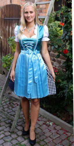 NEU-Tolles-Dirndl-3tlg-Set-Kleid-Bluse-Schuerze-gruen-petrol-tuerkisblau-36-38-40