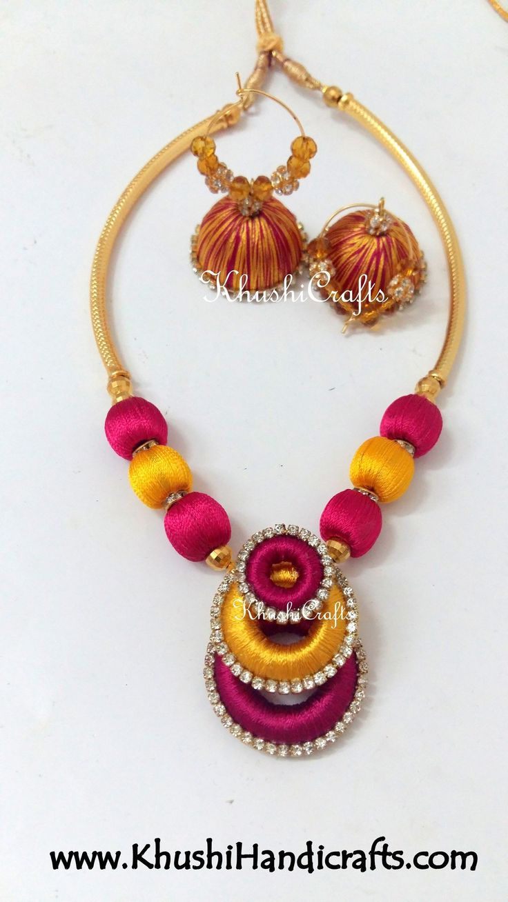 Double coloured Necklaces in Silk thread jewellery