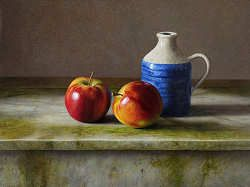 Appels op marmer   schilderij van een stilleven in olieverf van Herman Tulp   Exclusieve kunst online te koop in de webshop van Galerie Wildevuur