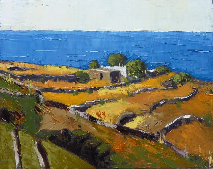 GREEK ISLAND 50X40 cm oil painting by Babis Douzepis
