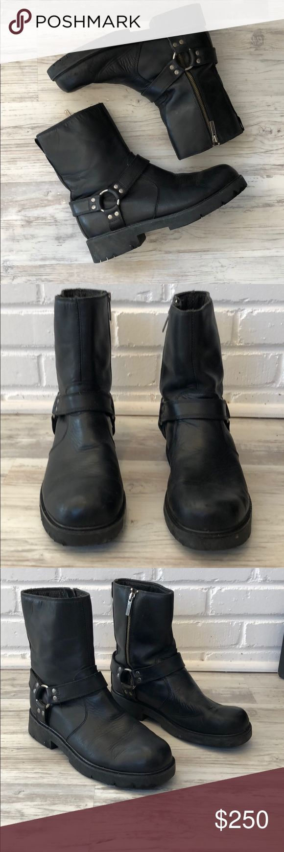 Harley Davidson men's motorcycle boots Men's black leather motorcycle boots from Harley Davidson like new condition  -worn only a couple times or maybe once 😂 -still have plenty of tread on the soul  -got rid of the motorcycle still have the boots  -need to get rid of the boots Harley-Davidson Shoes Boots