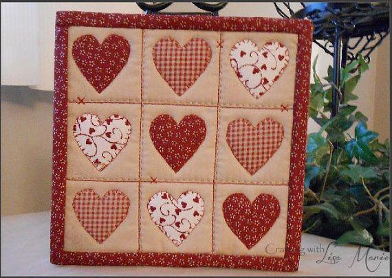 Hearts and Stitches Mini Quilt / Mug Rug PDF by CraftingwLisaMarie, $3.00