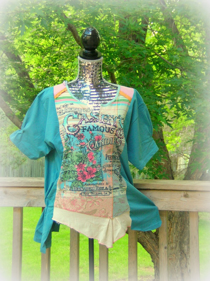 Reconstructed Knit Tunic T Shirt Tee Altered Couture Upcycled.