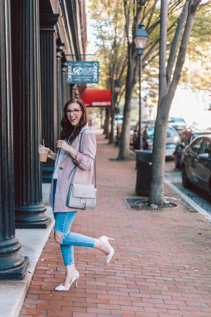 Investment Blazer for Work and Play | She Saw Style Dressed Down Blush Boyfri…