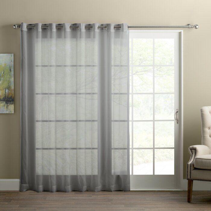 Basics Solid Semi Sheer Grommet Single Curtain Panel In 2020 Panel Curtains Curtains Patio Door Curtains