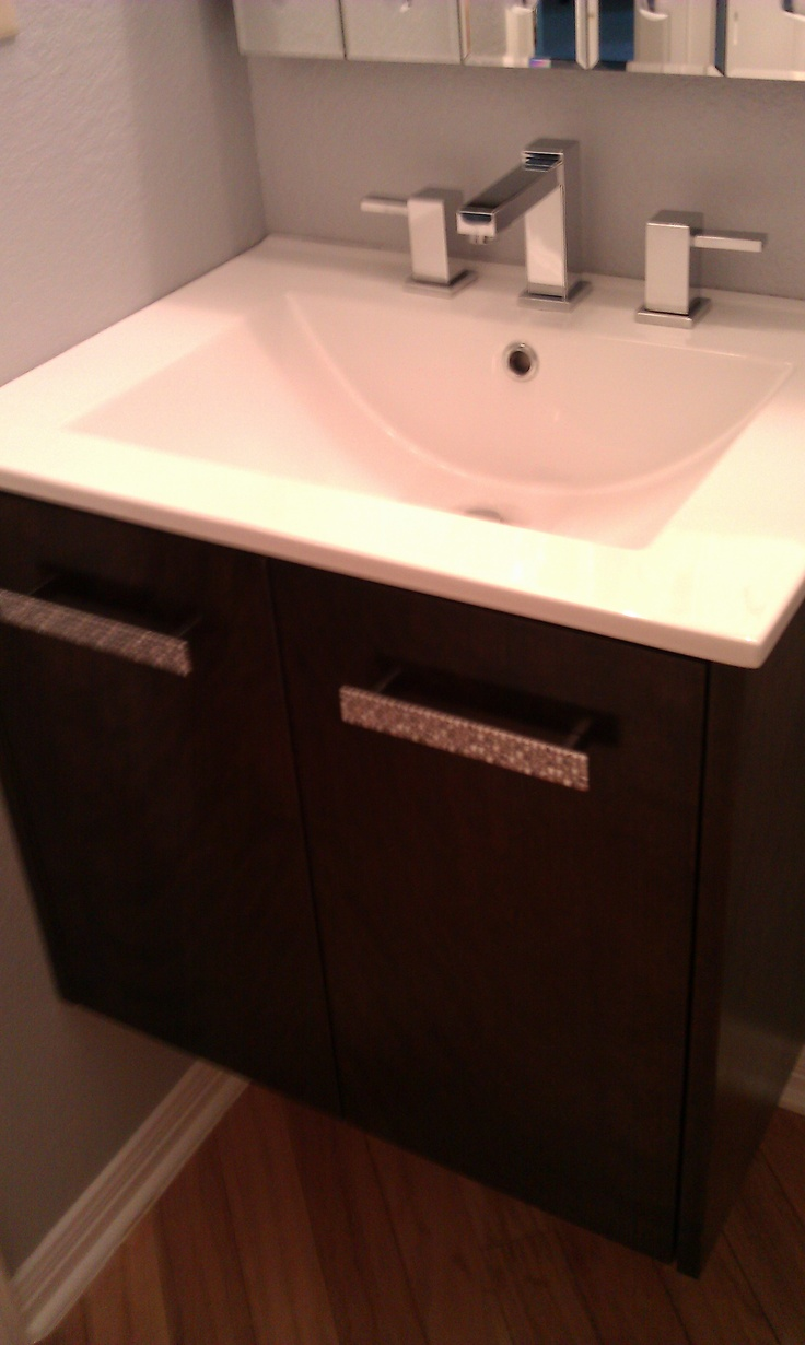 Bathroom cabinets austin - Cherry Stained Wall Hung Vanity