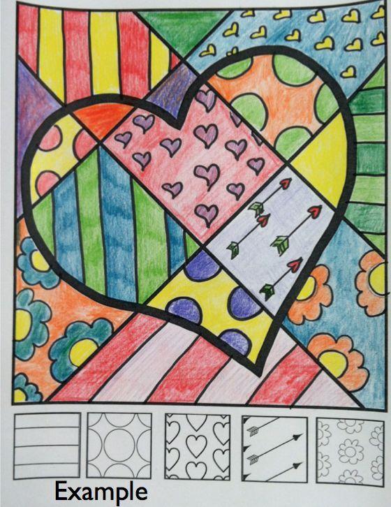 "FREE ""Pop Art"" heart lesson from Art with Jenny K. Great Valentine's Day art activity for kids! Each finished piece is original and like no other. Students have to think and solve design problems as they interact with this coloring page."