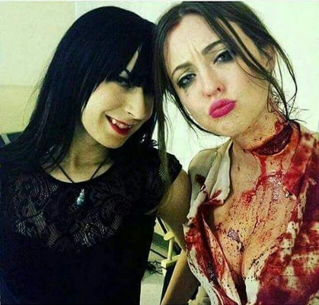 Jen Soska & Katharine Isabelle (@ soskasisters) I love them there like my horror queens