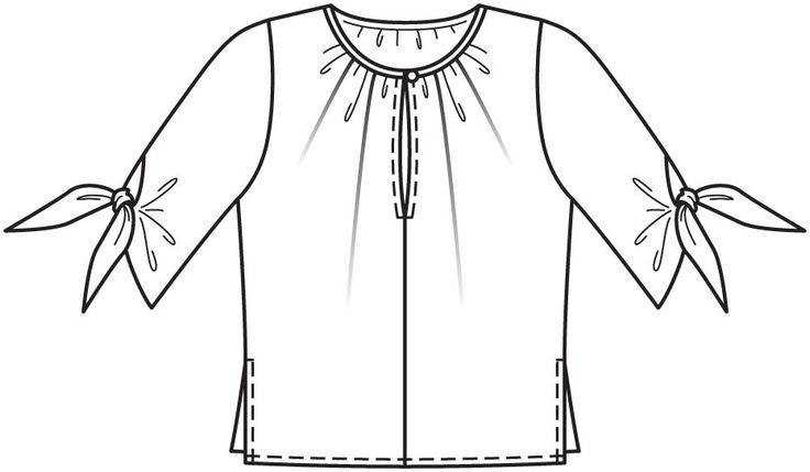 Bluzka z rękawem 3/4 - liczba wzór 109 Magazine 11/2015 Burda - wzory na bluzki Burdastyle.ru