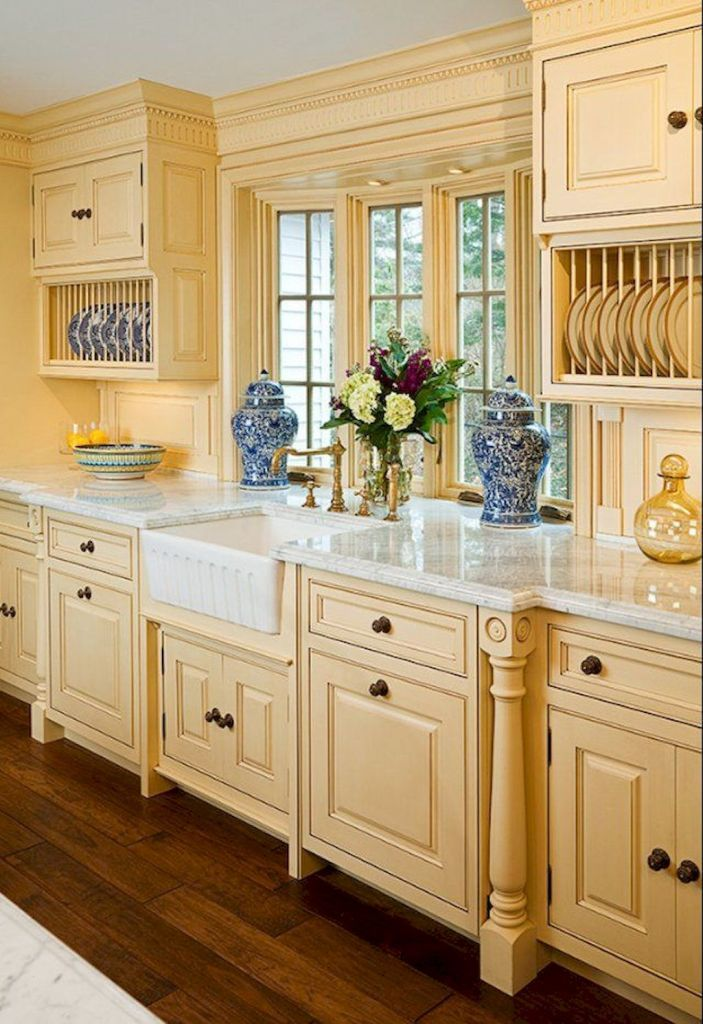 Farmhouse French Country Cream Kitchen, French Country Off White Kitchen Cabinets