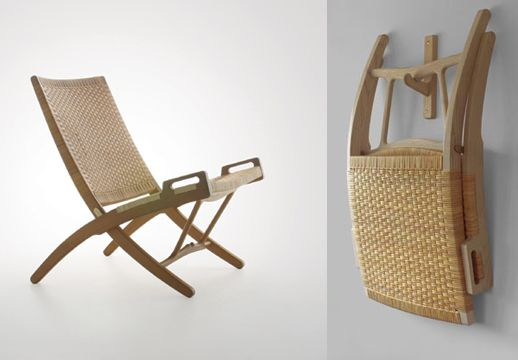 Hans Wegner's collapsible chair in which seat, back and legs form a single X that is pleasing when in full but also as an adornment to a room when hung on the wall.