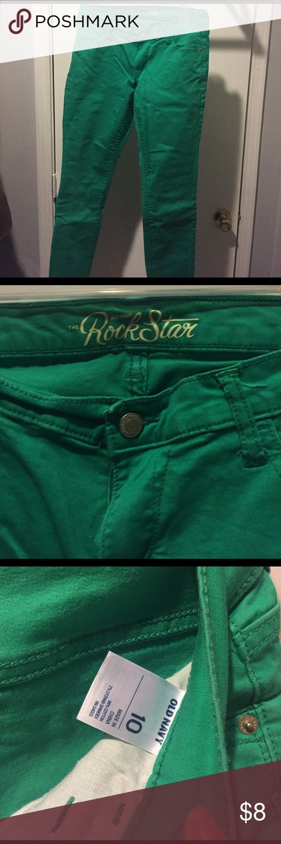 Green old navy rockstar jeans! Green old navy rockstar jeans, skinny leg, size 10, perfect for St Patrick's day! Old Navy Jeans Skinny