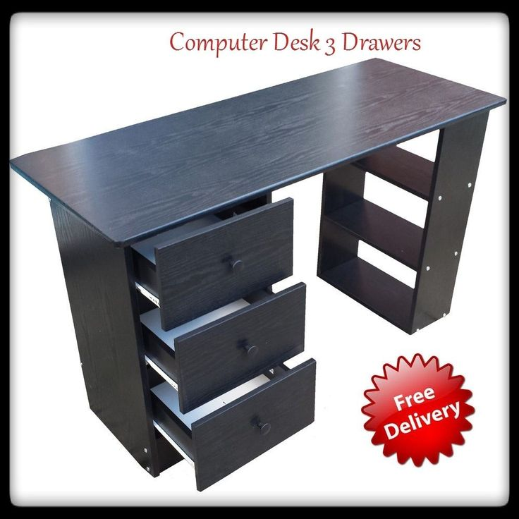 Black Computer Desk With 3 Drawer Student Dorm Room Storage Office Furniture New…