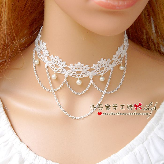 Кружева белое кружево Choker ожерелье женское ключицы цепи ожерелье невесты свадебное платье простое эстетическое XL036- Taobao