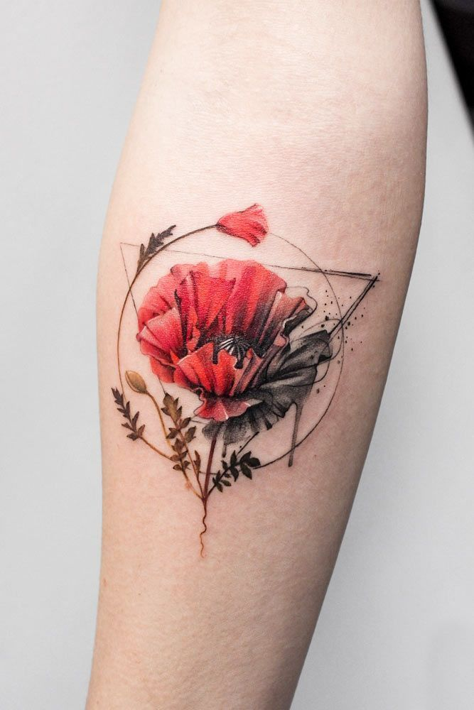 Poppy Flower Watercolor Tattoo With Geometric Elements