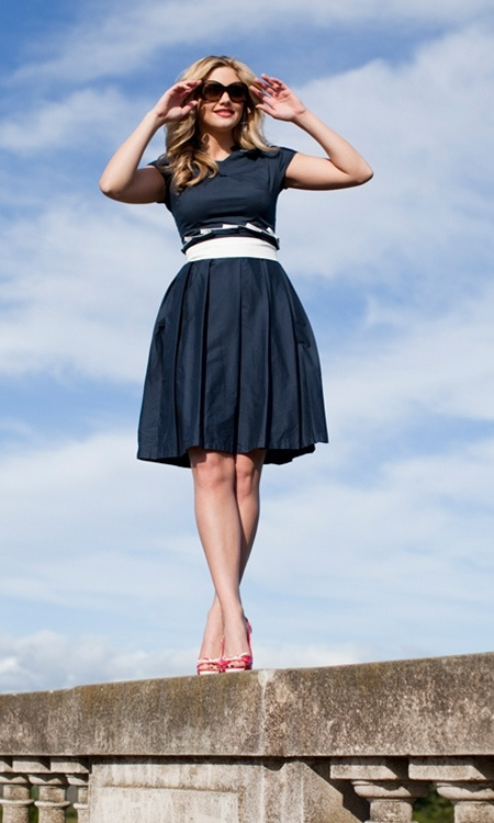 Navy blue dress, white waist