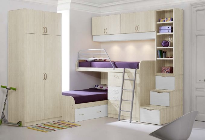 Camas dobles para espacios peque os cuarto para los - Camas ninos pequenos ...