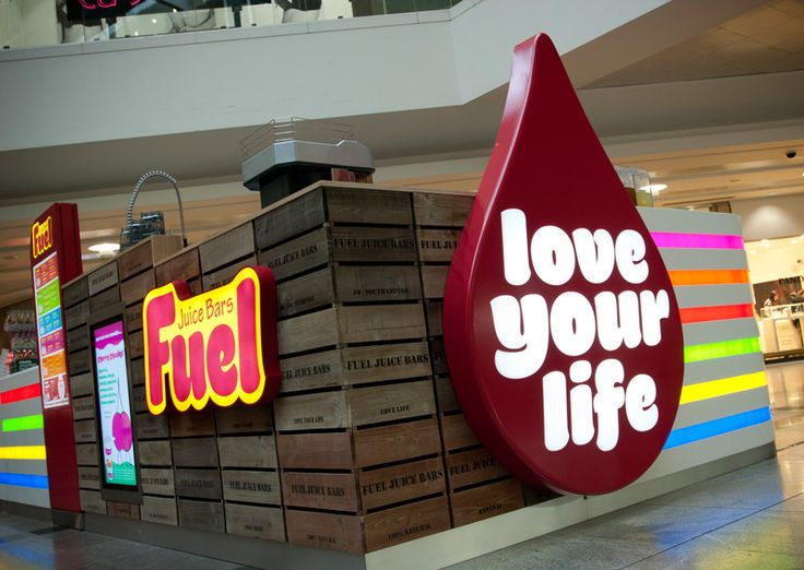 Fuel Juice Bars - West Quay.  Designed by The Yard Creative