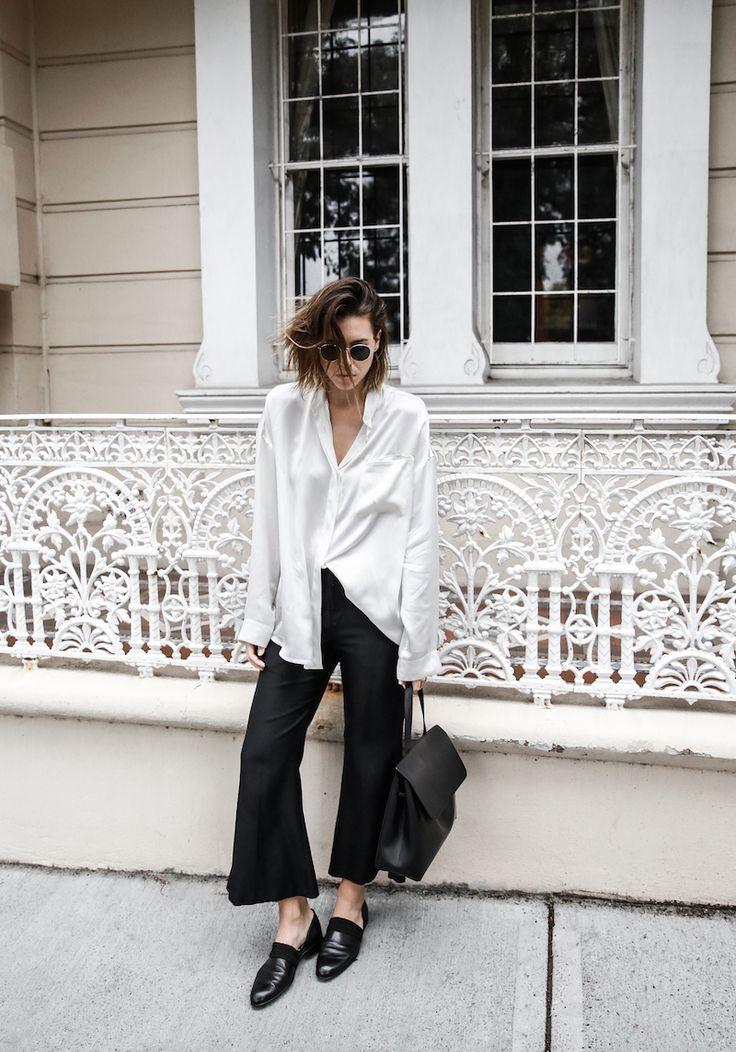 monochrome minimal street style inspo fashion blogger Haider Ackermann silk shirt flare pant mansur gavriel bag black white modern legacy outfit (3 of 6)