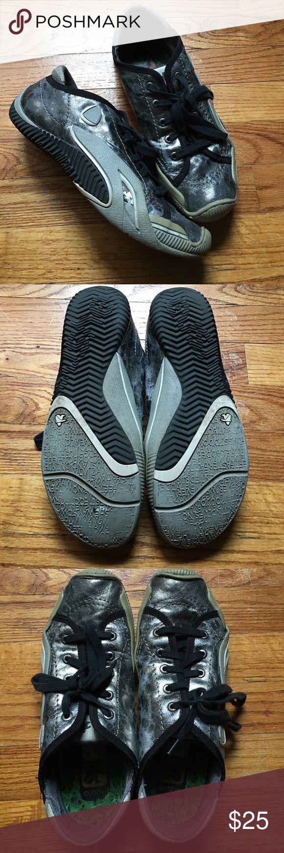 Cute silver and gray CUSHE shoes CUSHE brand sneaker type shoes.  So comfy. Cushe Shoes Sneakers