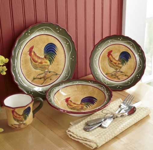 16 Piece Provence Rooster Dinnerware From Through The Country Door