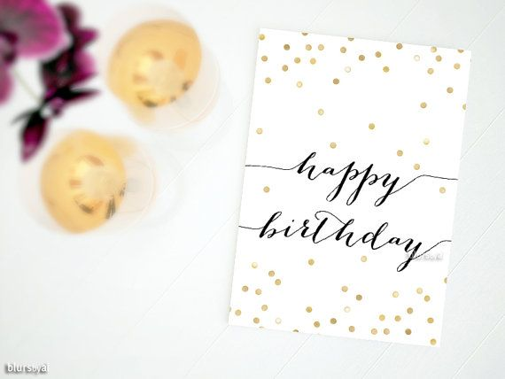 """Gold confetti printable happy birthday card: typography quote, black and gold card for her, girly card -gp031 4x6"""" 5x7"""" Instant download by blursbyaiShop, $4.90"""