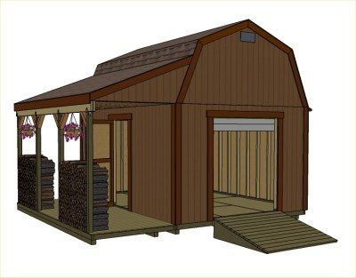 12x16 barn with porch small barn plans mini barns for Barn shed with loft plans