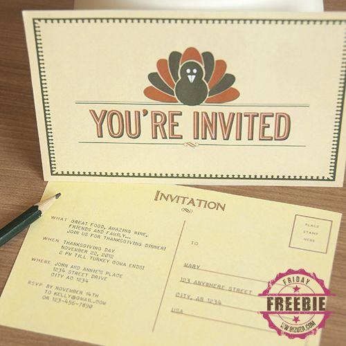 Více než 25 nejlepších nápadů na Pinterestu na téma Thanksgiving - free printable dinner party invitations