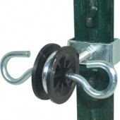 """2 Ring Gate Ends for T Posts - Isobar  Part Number: 102135    Ring anchor insulator with """"T"""" post attachement bracket. Both rings are conductive allowing for the connection of your electric fence to one side and the connection of a gate handle to the other side."""
