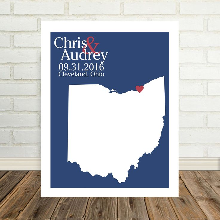 "Ohio State Map Personalized Ohio Print Personalized Ohio Map Custom Wedding Map Any Location Available Worldwide Personalized Map Art. Personalized Ohio Wedding Map. Any Location Available WORLDWIDE! This is for an 8.5"" x 11"" print only. Can be upgraded to a larger 12""x 12"" print or 12""x 18"" print. This print is customized to ""heart"" your special day. This print can be personalized to place a heart over the city where you wed, were engaged or fell in love. Choose from many different color..."