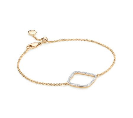 Riva Large Hoop Bracelet in 18ct Gold Vermeil on Sterling Silver with Diamond | Jewellery by Monica Vinader