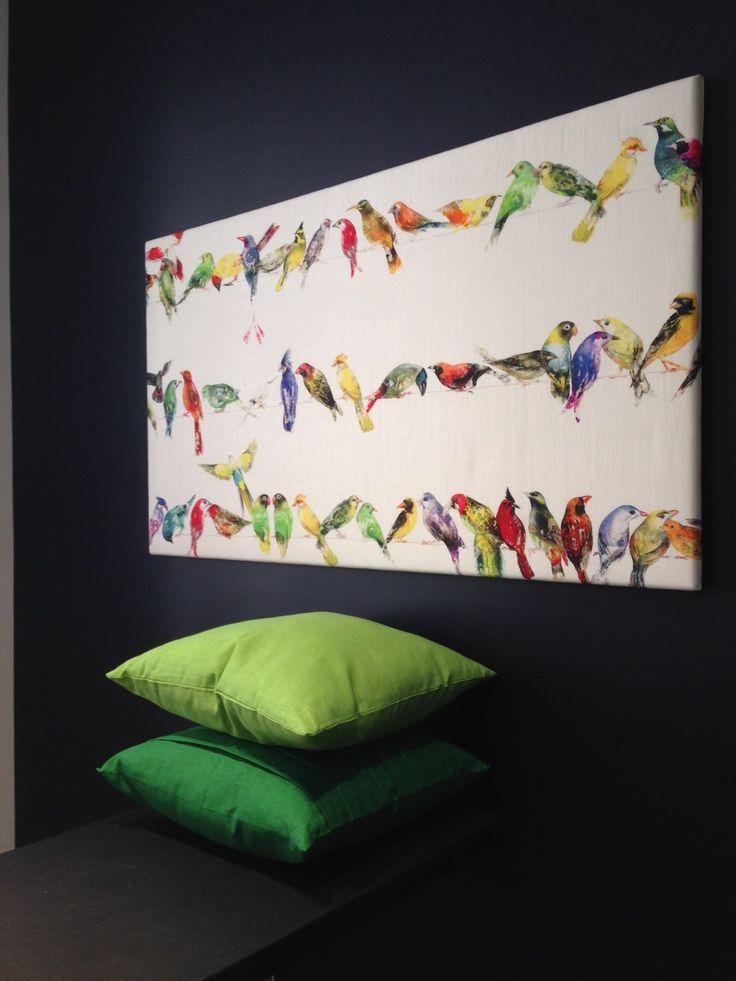 Fåglar på rad, väggbild med kilram