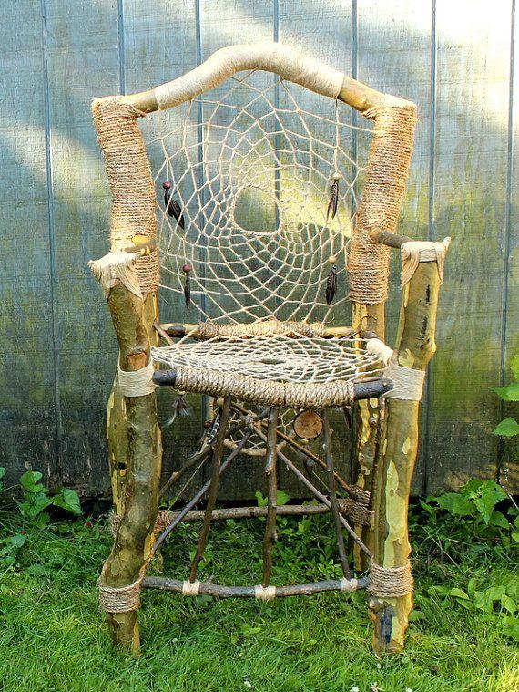 Custom Dream Catcher Chair Handmade Recycled Tree Limb Furniture Rustic Chair Tree
