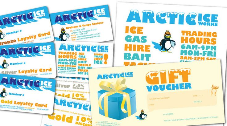 Arctic Ice Works  - collaterals created:Identity, Business Cards, Loyalty Cards, Pullup Banners, Magnets, Flyers, Brochures, Letterheads, Signage