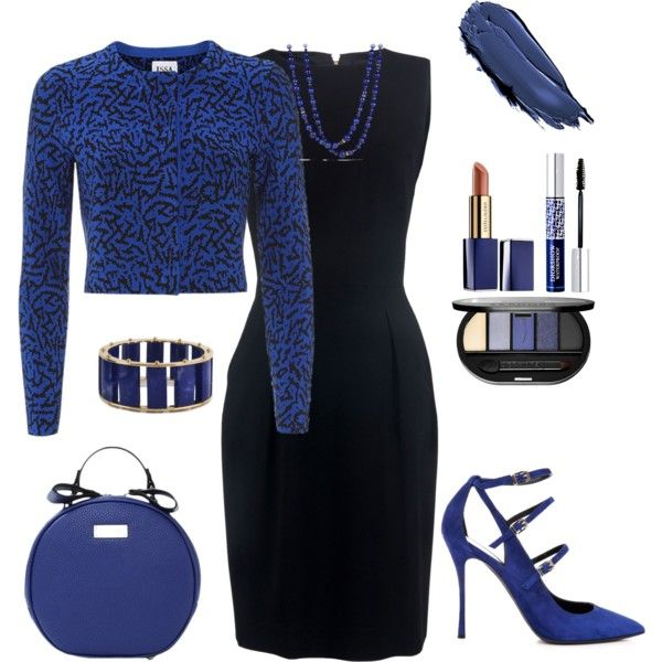 Black and Blue dress outfit created by tsteele