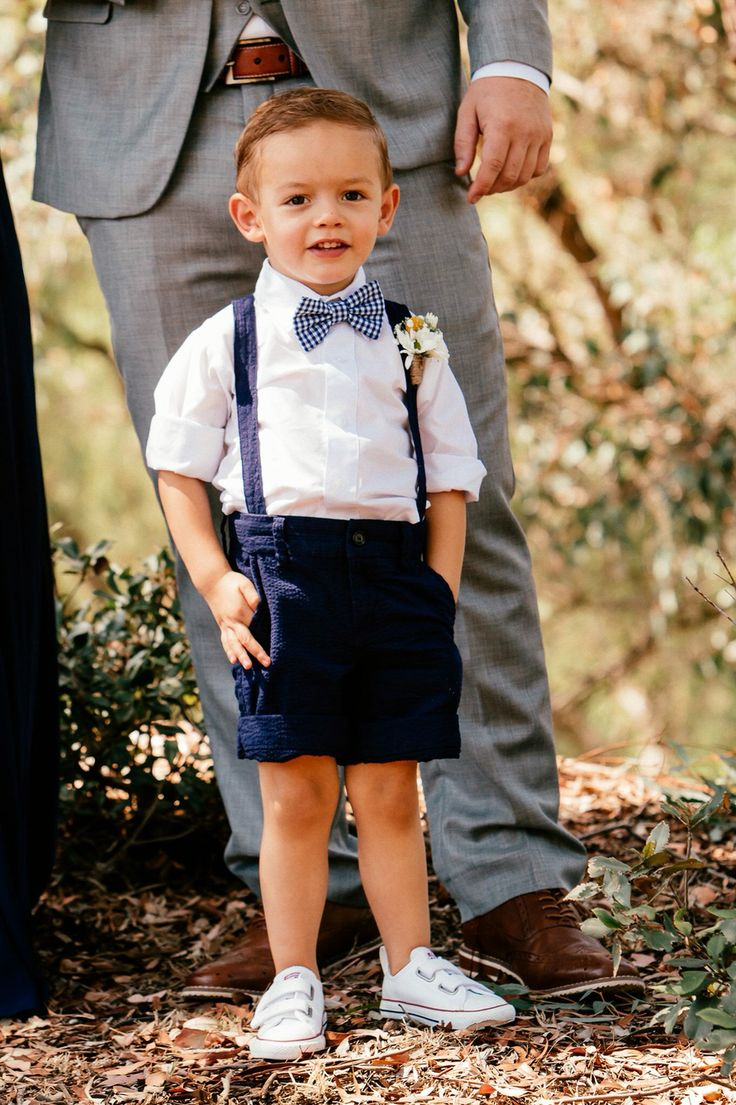 Page boy navy blue suspenders adorable