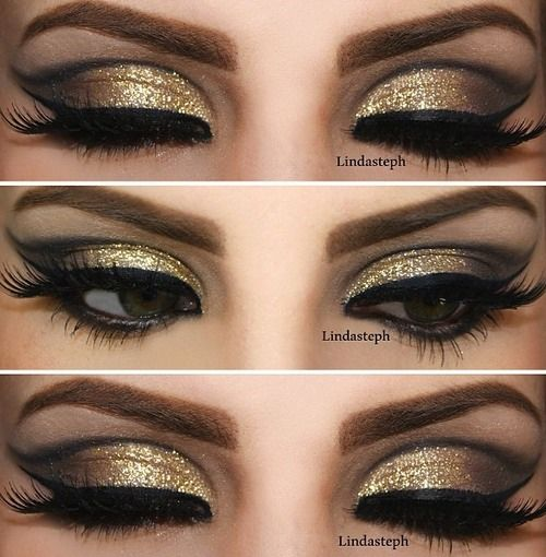 maquillaje de ojos color dorado con negro