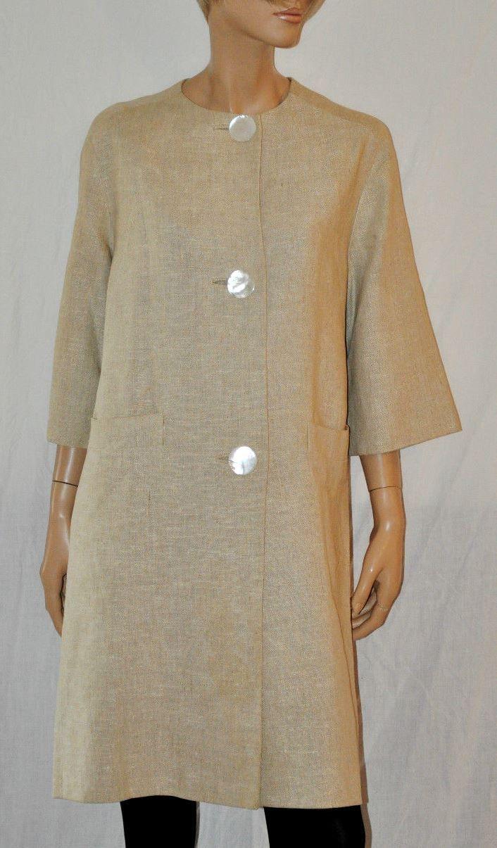 Magnificent Sixties Woman Linen Coat Nacreous Buttons Cappotto Soprabito Donna Lino 100 % Vintage '60 Beige LAWRENCE of LONDON Taglia 42/44 di BeHappieWorld su Etsy