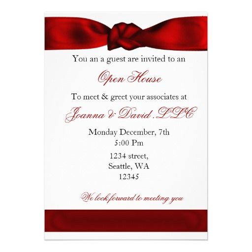 21 best open house invitation wording images on pinterest red elegant corporate party invitation stopboris Choice Image