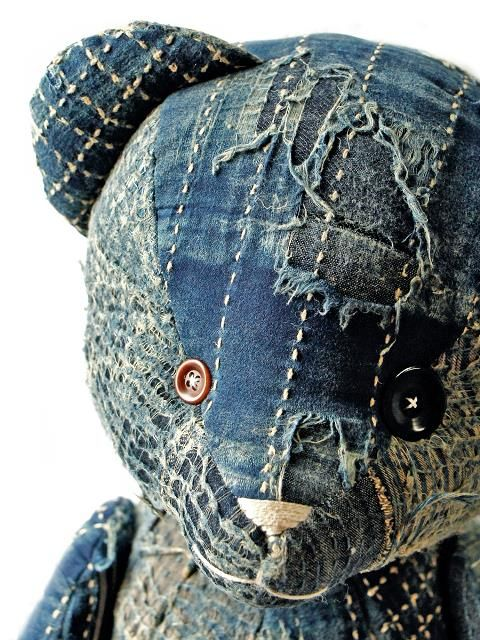 teddy bear kapital clothing long john blog japan rags boro sashiko stitching repair patched patch work handmade workwear jeans denim selvage selvedge buttons blue blauw teddy beer shades (3)