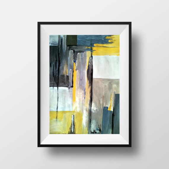 AVAILABLE CUSTOM ORDER - Original acrylic abstract painting, The painting contain a mix of colors : black, gray, dark blue, smokey blue, silver, yellow white. The silver