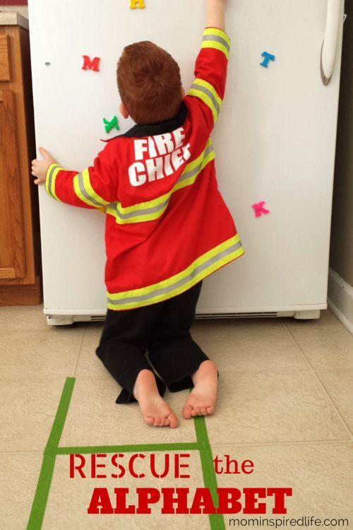 Rescue the Alphabet Firefighter Game. This game integrates pretend play with letter learning. Kids will work on letter recognition, letter sounds and even gross motor skills while pretending to be a firefighter. It's a great activity for preschool community helpers theme or fire safety theme lesson plans!