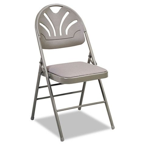 Fan Back Folding Chair, Kinnear Taupe/Gray W/padded Seat. $236.54/