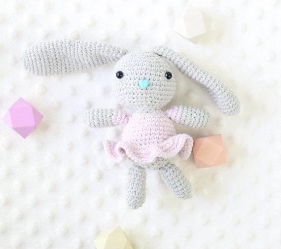 Little bunny girl named Sophia is looking for a friend :) She loves to play and cuddle. Her heart is as big as her ears :) She is small, so perfect for little childs hands.   This Bunny was made with love and care. It can be a perfect gift for every kid, toddler and even a newborns. It is soft to the touch and ready to be snuggled.  It is made with cotton yarn and a safety nose and eyes. Filled with antiallergic fiberfill. There is no choking hazard.  Approximate heigh 16cm (7 in) + 12cm…