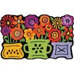 Three Flower Pots 22 in. x 36 in. Recycled Rubber Mat, Multi-Bright