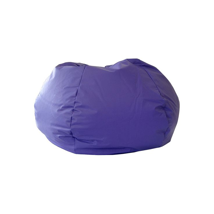 Small Faux-Leather Bean Bag Chair, Purple