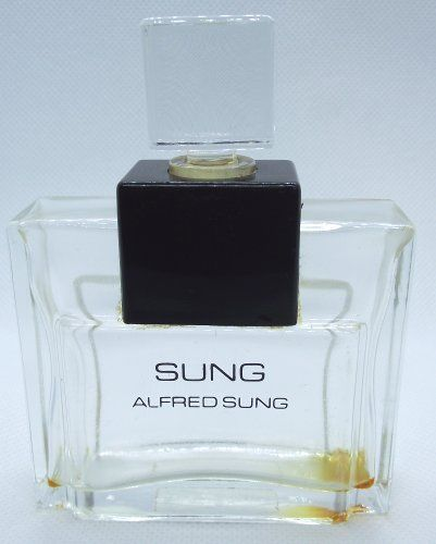 """SUNG Alfred Sung Perfume Empty Bottle Clear Glass 3-5/8"""" H Black Accents  #AlfredSung"""