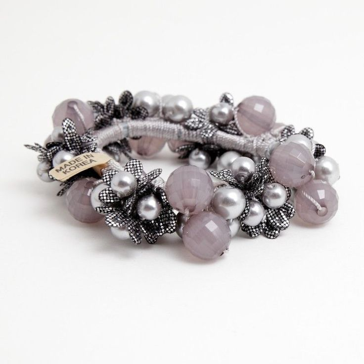 Handmade Grape Flower Vine Acrylic Pearl Beaded Elastic Band Ponytail Holder #Handmade